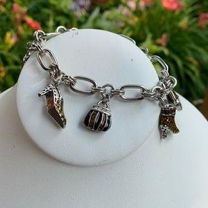 Cookie Lee Shoe Purse Charm Silver Tone Bracelet